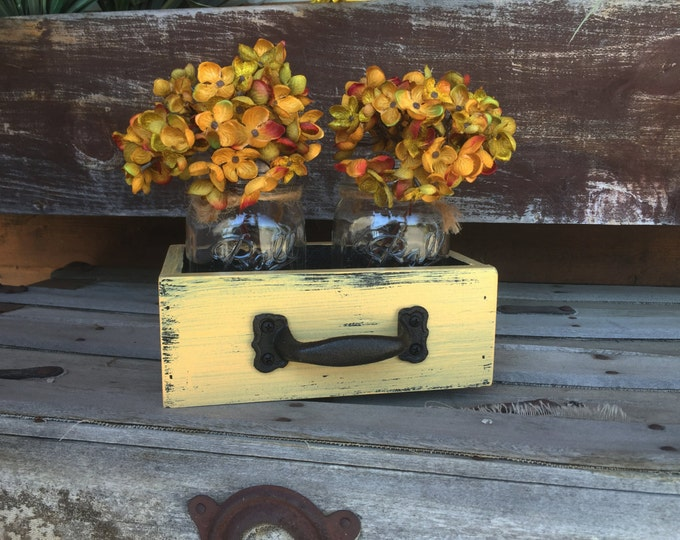 MASON Jar Centerpiece DRAWER with 2 Ball Jars Reclaimed Distressed Wood Mail Organizer Box Table Storage Handle Blue White Red Yellow Teal