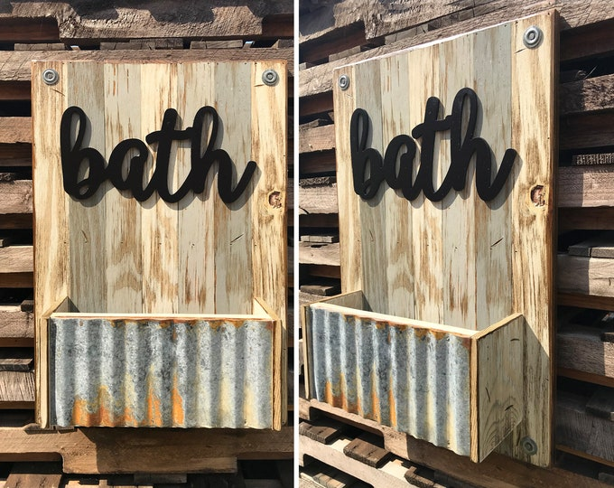 BATH Wall Caddy *Beautiful Distressed Wood Wall *Rustic Home Bathroom Decor *Towel Rack *Accessory Storage *Cream Blue Gray Brown 16X24