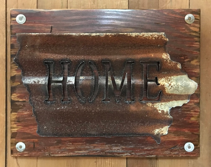 IOWA State Wall Sign with GALVANIZED Metal ~ HOME Reclaimed Distressed ~ Rustic Red White Blue Wood ~ South North Dakota Nebraska Minnesota