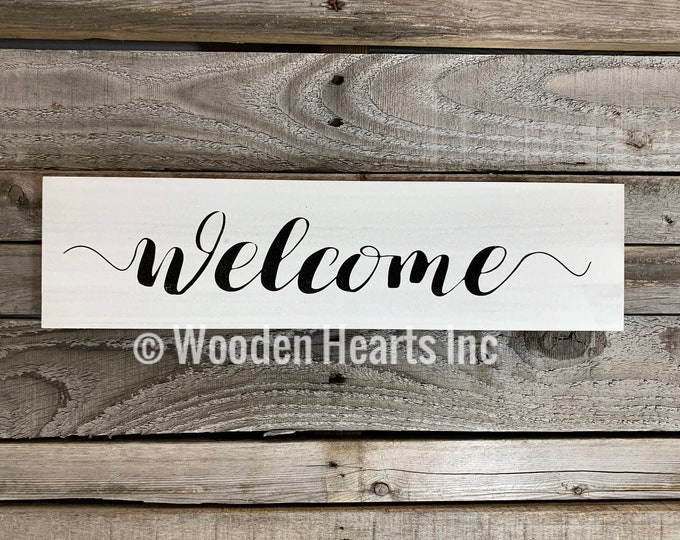 Welcome Sign *Blessings, This is us our life story home (sold separately) *Wall wood rustic distressed decor *Brown White or Gray *4x16