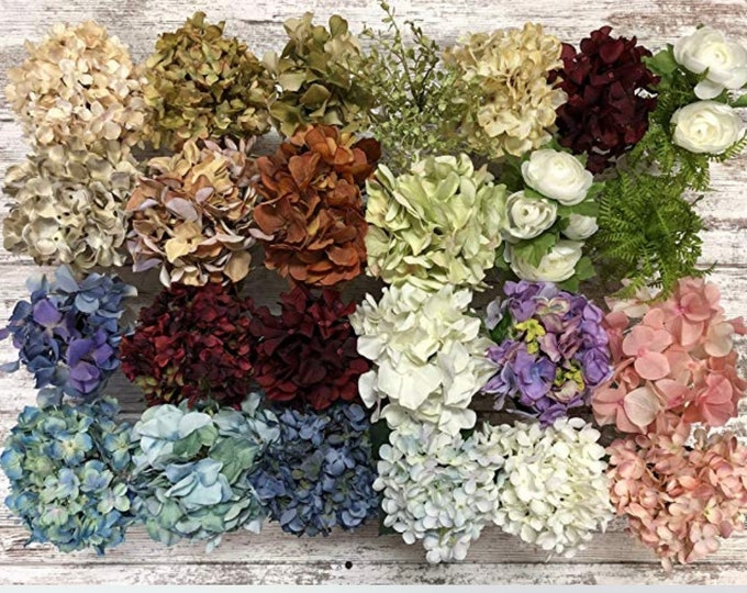 FLOWER STEM Hydrangea or Daisy Accessory for Centerpiece Table Kitchen Ball Pint Jar Decor *Blue Cream Red Green *Flowers Accessories ONLY