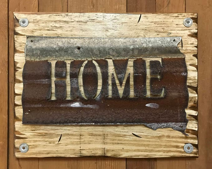 SOUTH DAKOTA State Wall Sign with GALVANIZED Metal ~ Home Reclaimed Distressed ~ Rustic Red White Blue Wood ~ North Minnesota Iowa Nebraska