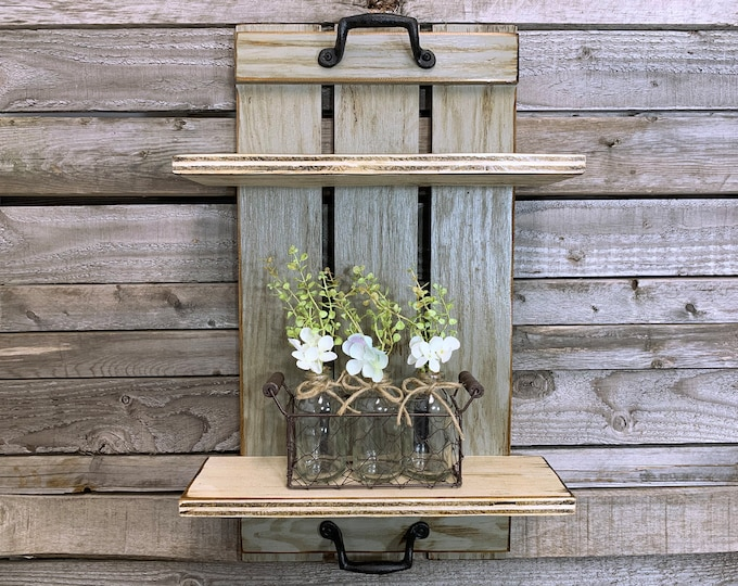 Wall SHELF Wood Tray Style with Metal Handles, *Bathroom Kitchen *Distressed Rustic Home Decor *Antique White, Brown, Gray *2 shelf vertical