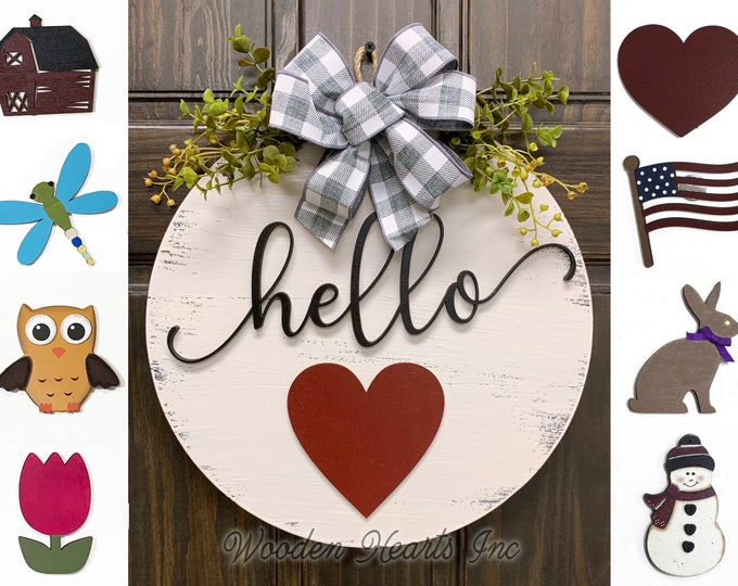 "HELLO Wreath Signs Door Hanger Welcome with Bow Front Door Decor + Interchangeable Season Changer Piece 14"" Round,  Spring Heart"