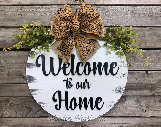 """Welcome to our Home Front Door Decor, Hanger 16"""" Round 3D Wood Letters Sign Wreath + LEOPARD Bow Greenery Everyday Distressed White Black"""
