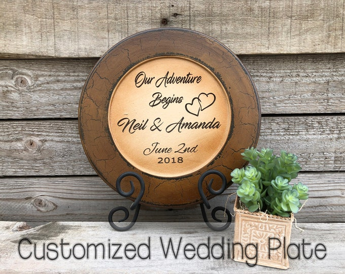 WEDDING GIFT PERSONALIZED Wood Plate Engraved Names Wedding Date Custom Anniversary Housewarming Bride Groom Bridal Customized Baby Shower
