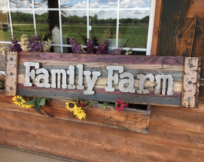 FAMILY FARM Farmhouse Decor Wall Sign Rustic BURGUNDY Reclaimed Shutter Distressed Industrial Blue Green Red Farmer Metal Large Pallet Home
