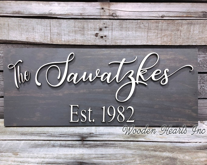 Personalized Family Name Sign for Home on Wood 3D Established Date CUSTOMIZED  Lettering Welcome Wedding Housewarming Gift House