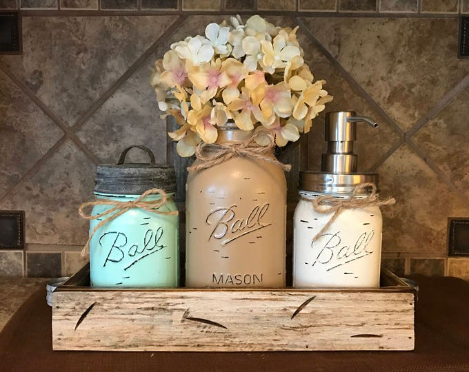MASON Jar Kitchen or Bathroom SET in Antique White Pint TRAY, Canister, Quart Utensil Holder Vase, Soap Dispenser, Painted Jars Distressed