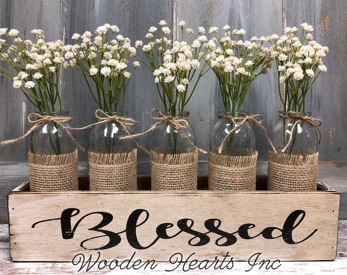 BLESSED, Thankful, or grateful Wood Box Tray table centerpiece with glass bottle jars (greenery optional) *Wedding *CUSTOMIZE Color & Word