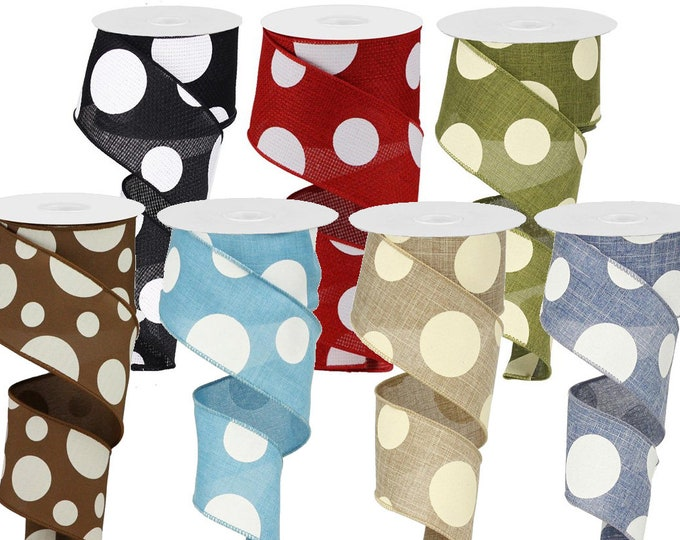"""POLKADOT RIBBON roll of Wired 2.5"""" wide X 10 Yard, Create Dot bows, Red, Green, Blue, Brown, Tan, Black, 1 ROLL"""