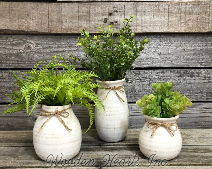 vase SUCCULENT PLANTS in Ceramic CREAM Pottery bottle white Pot Jar Mini Farmhouse Home Decor Distressed  Cute Garden Greenery