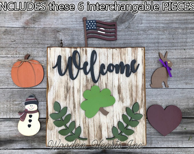 Door WELCOME Sign Interchangeable Season Changer Pieces Outdoor *Heart Clover Bunny Flag Pumpkin Snowman Christmas Easter St Patrick's Day