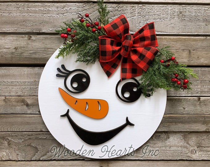 "Snowman Christmas Holiday Door hanger Wreath Wood Round Mr or Mrs Sign Greenery, Happy Holidays, Boy Top Hat, Girl Bow 14"" 3D Wood Lettering"