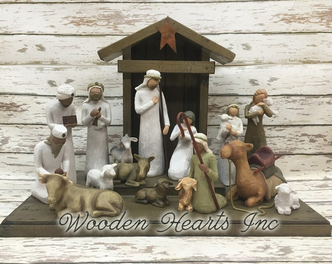 Nativity STABLE CRECHE fits Willow Tree Angels *Distressed Barn *Christmas Decor Stables  *Baby Manger *Angel Stand *Burgundy Red  Green
