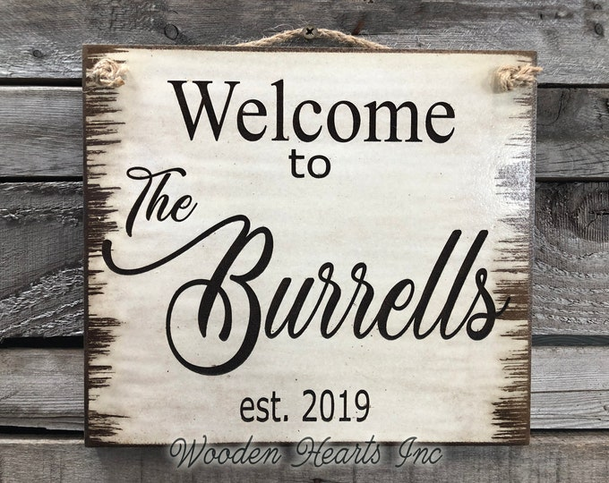 Sign Engraved CUSTOM Welcome to the Family Last Name PERSONALIZED Door Hanging Plaque Wedding Housewarming Gift Farmhouse Antique White Wood