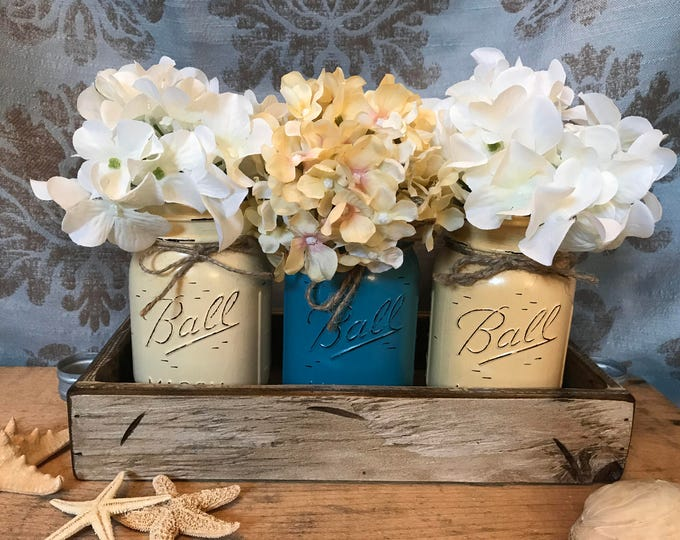 MASON Jar Decor Spring Centerpiece (Flowers optional) -Antique White TRAY with 3 Ball Canning Painted Pint Jars Distressed Wood Yellow Blue