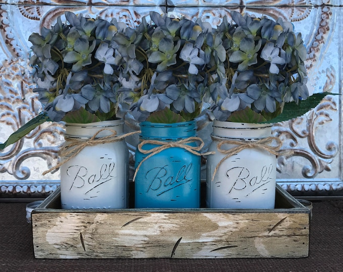 Mason Jar Decor Centerpiece (Flowers optional) -Antique White TRAY with Handles- 3 Ball Canning Painted TURQ GRAY Pint Jars Distressed Wood