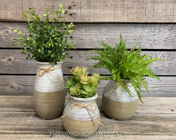Vase SUCCULENT PLANTS in Ceramic 2 TONE cream brown Pottery bottle white Pot Jar Mini Farmhouse Home Decor Distressed  Cute Garden Greenery