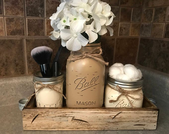 MASON Jar Bathroom SET in Antique White TRAY, Mini Makeup, Quart Vase, Pint Cotton Ball Holder Jars Painted Distressed Counter Decor Kitchen