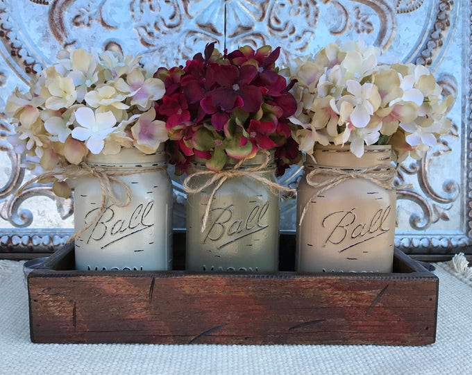 MASON Jar Decor Centerpiece (Flowers optional) -Antique RED TRAY with Reclaimed Handles- 3 Ball Canning Painted Pint Jars Distressed Wood