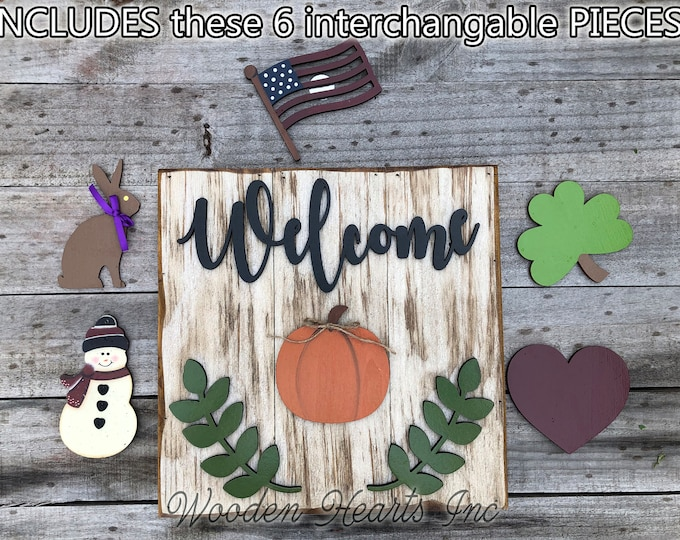 Fall WELCOME Sign with Interchangeable Season Changer Pieces Heart Clover Bunny Flag Pumpkin Snowman Christmas Easter Halloween Thanksgiving