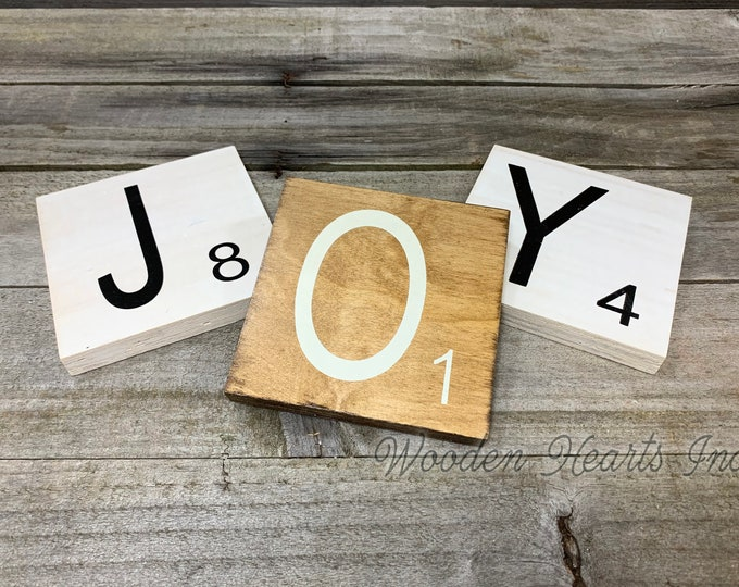 SCRABBLE Tile LETTER SET of 5 Decor *Wall Hanging *Distressed Brown or White Wood 5x5 *Customize a name or word! Wooden