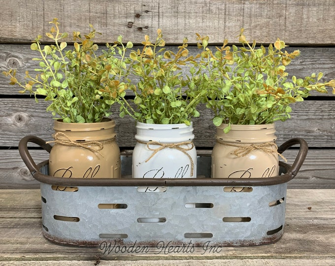 Galvanized Tray with Handles, Optional pint or quart jars and flowers, Farmhouse Table Centerpiece Decor, Oval Olive Tray, Metal Country