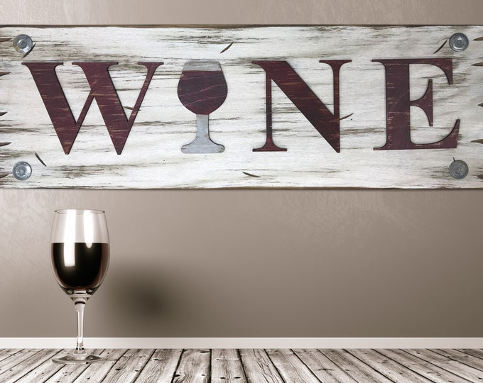 WINE with wine glass Sign, Horizontal, Winery Bar Man Cave Decor, Rustic Word Distressed Wood *Antique Red & White, Xl Large Wall