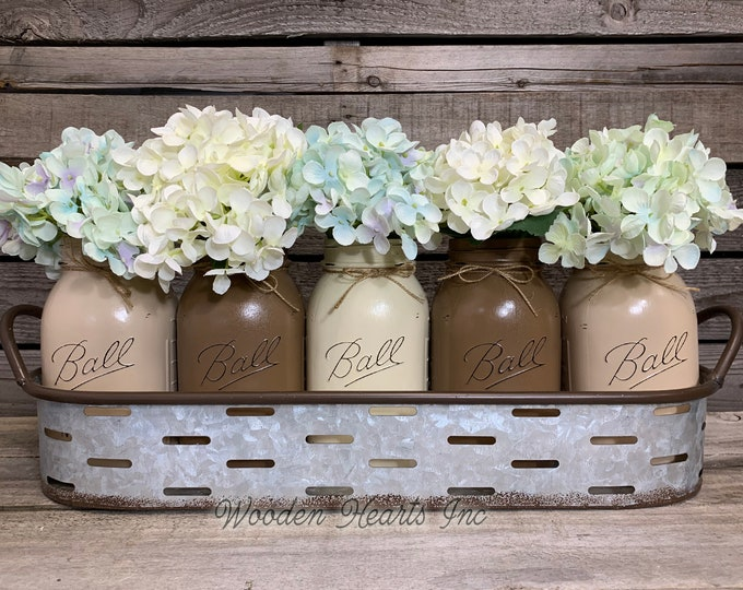Farmhouse Kitchen Decor Galvanized Tray with Handles, Optional pint or quart jars and flowers, Table Centerpiece Decor, Oval Tray, Metal