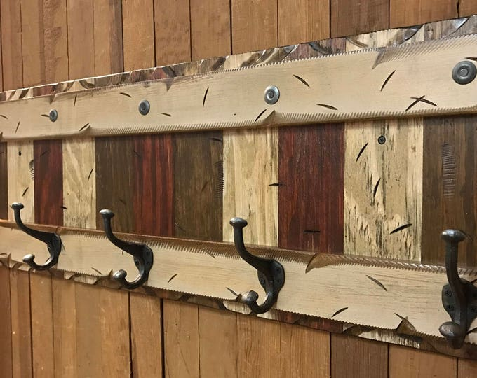 COAT Rack Wall 5 Hook Rustic Reclaimed Distressed RED BROWN Sturdy Wood Cabin Entryway Mudroom Bathroom Office Antique White Cream Log 44""