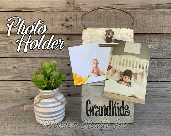 Grandkids PHOTO HOLDER Metal Antique Cheese Grater with Clip/Clipboard Picture Frame great for 4x6 photos -Vintage Rustic Silver, Family
