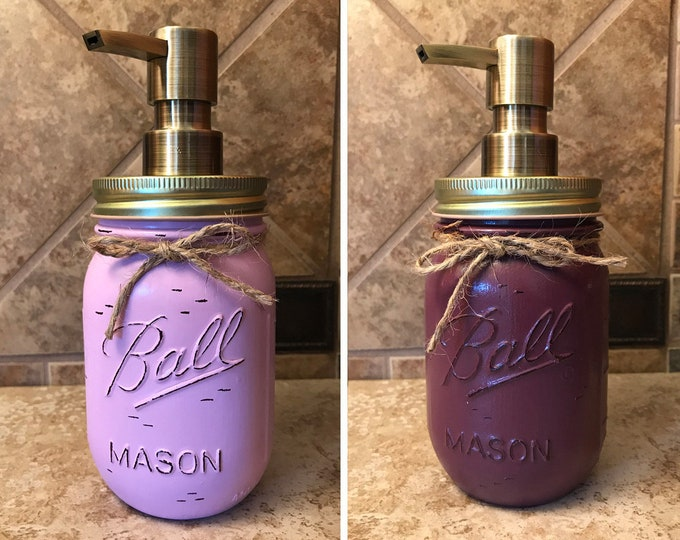 Mason JAR SOAP Brass Bronze Gold Metal DISPENSER Painted Distressed Ball Pint Canning *Kitchen Bathroom Lotion Purple Blue *Quality