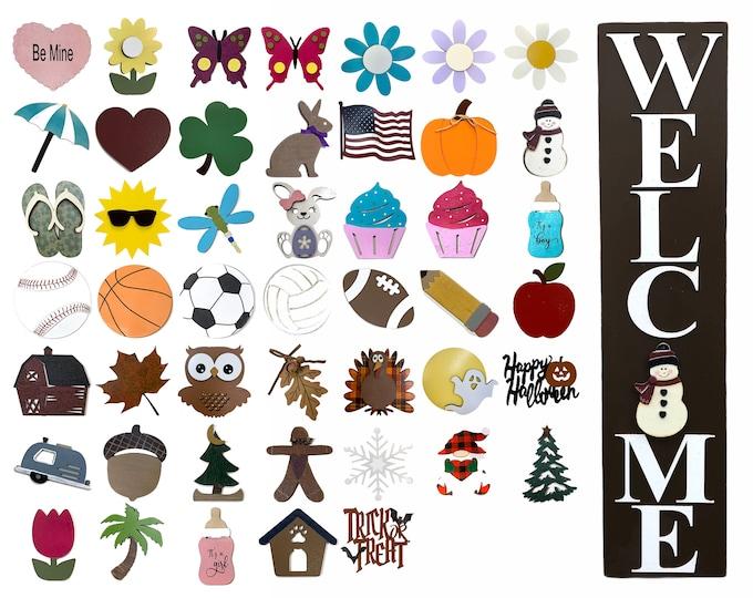 WELCOME Sign with 6 Interchangeable SEASON CHANGER Pieces *Vertical Outdoor *Christmas Thanksgiving *Heart Clover Bunny Flag Pumpkin Snowman