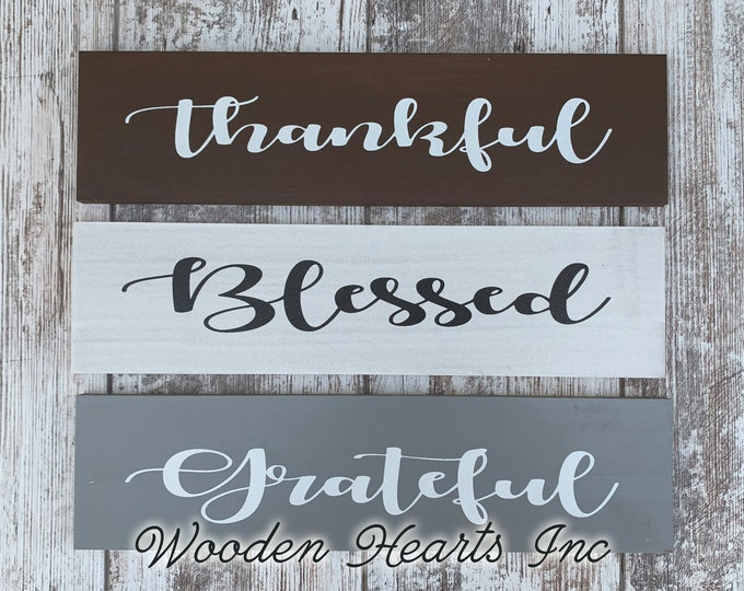 Thankful Sign *Blessed, Grateful (sold separately) *Wall wood rustic distressed welcome decor *Brown White or Gray *horizontal 4x16 block