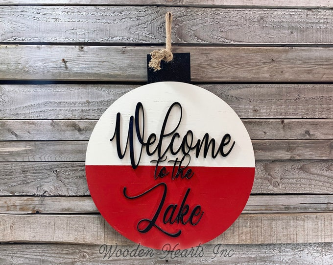 Welcome to the Lake Sign for home Fishing Decor Man BOBBER Front Door Hanger Cabin River Hello Summer Beach House Wall Outdoor Retirement