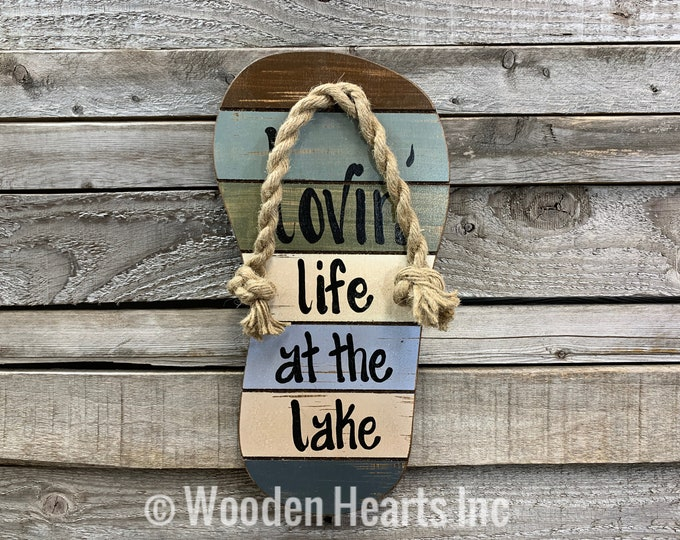 FLIP FLOP SIGN Lovin Life at the Lake in Flops Reclaimed wood Pallet Wall Beach House Ocean Summer Cutout Shaped Decor Green Blue Tan Cream