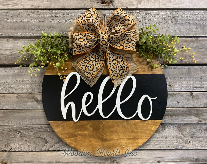"""Leopard Front Door Decor, HELLO or Welcome Hanger 16"""" Round with STRIPE, 3D Wood Wreath Bow Ribbon Greenery, Everyday Wall Sign White Black"""