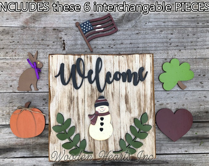 Christmas WELCOME Sign with Interchangeable Holiday Season Changer Pieces Heart Clover Bunny Flag Pumpkin Snowman Easter Thanksgiving Winter