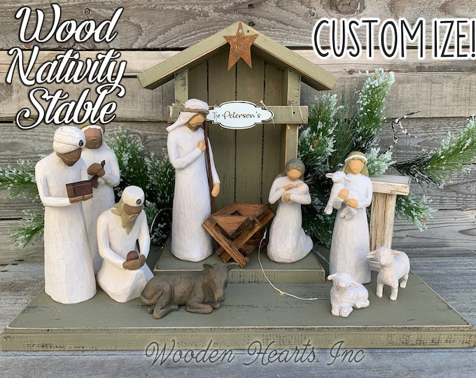 STABLE WOOD CRECHE fits Willow Tree Angels *Nativity Distressed Christmas Decor *Optional Personalized Sign Lights Baby Manger Angel Stand