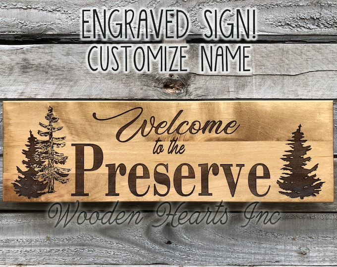 Custom Welcome PERSONALIZED Engraved Family Name Sign Quality Maple Wedding Housewarming Gift Trees Cabin Lake Camp Wood Northwoods Sign