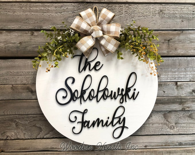 "Personalized Door Hanger, Welcome Wreath with Custom The Last Name Family, Bow Ribbon Eucalyptus Front Decor Everyday 16"" Round Sign White"