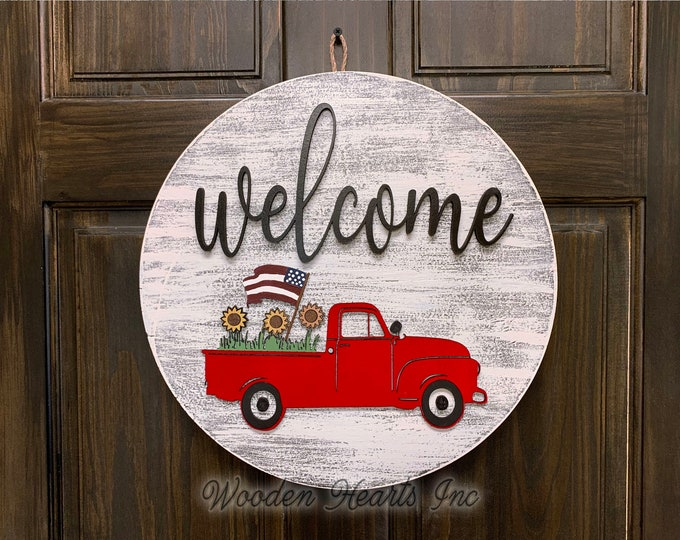 "Welcome Sign Front Door Hanger RED TRUCK with FLAG 16"" Round Wood Wreath Everyday Spring Easter Vintage Distressed White Gray Black"