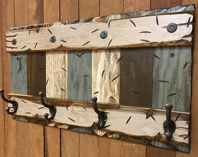 COAT RACK Wall with Metal 4 Hooks Rustic Reclaimed Distressed Sturdy Wood Cabin Entryway Bathroom Office Red Blue Brown Burgundy Log 28""