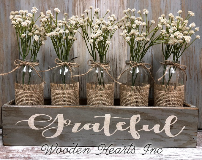 GRATEFUL, Thankful, or Blessed Wood Box Tray table centerpiece with glass bottle jars (greenery optional) *Wedding *CUSTOMIZE Color & Word