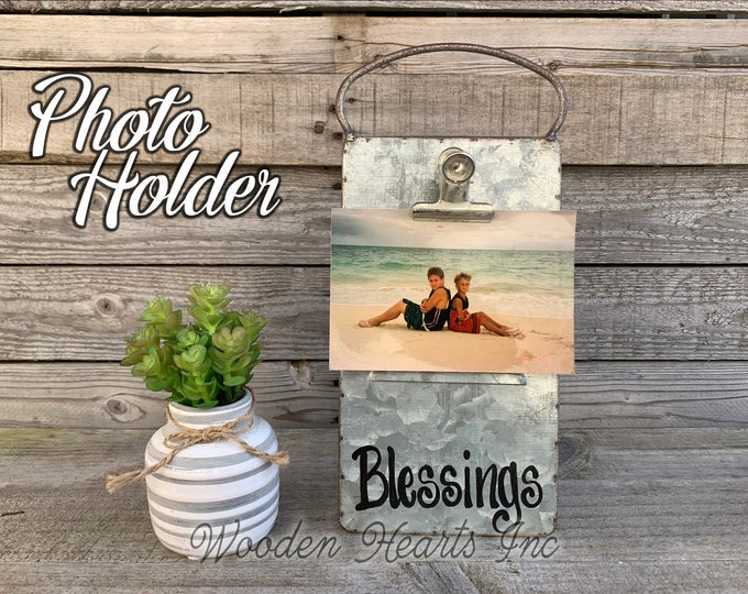Blessings Sign PHOTO HOLDER Metal Antique Cheese Grater with Clip/Clipboard Free Standing Picture Frame 4x6 photos Vintage Silver Family