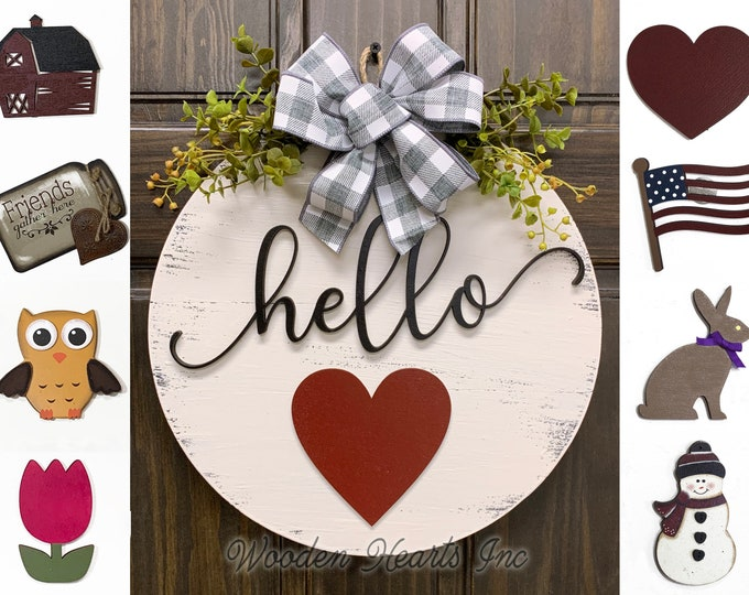 "Valentine Wreath Signs Door Hanger Welcome with Bow Front Door Decor + Interchangeable Season Changer Piece 14"" Round, Hello Spring Heart"