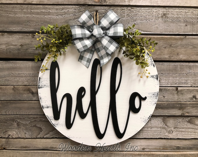 """HELLO Sign Front Door Hanger 16"""" Round Wood Wreath with Bow Ribbon Eucalyptus Everyday Sign Spring Easter Distressed White Gray Black"""