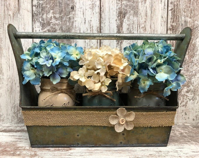 Metal CADDY with Dividers -rustic reclaimed GRUNGE centerpiece (jars & flowers optional) organizer with burlap *Bathroom Kitchen Living Room