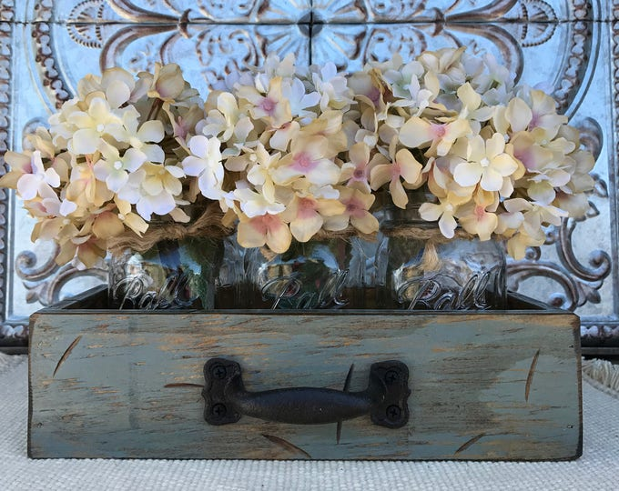 MASON Jar Centerpiece DRAWER Rustic Reclaimed Distressed Wood Box Ball with 3 Canning Pint Jars Crate Handle Red Blue Gray Cream Flowers
